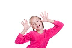 Free Funny Faces. Girl Plays The Fool Isolated On White Royalty Free Stock Photo - 16166895