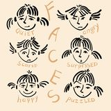 Funny faces. Girls faces with different emotions Royalty Free Stock Photography