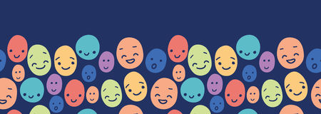 Funny faces horizontal seamless pattern background Royalty Free Stock Image