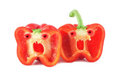 Funny faces peppers. Screaming funny faces peppers  on white background Royalty Free Stock Photography