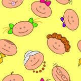 Funny faces, seamless. Vector seamless background. People, family, faces Stock Photography
