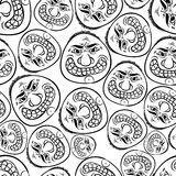 Funny faces seamless background, black and white lines vector ca Stock Photos