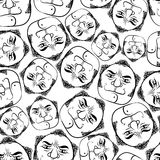 Funny faces seamless background, black and white lines vector ca Royalty Free Stock Photo