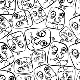 Funny faces seamless background, black and white Royalty Free Stock Photo