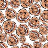 Funny faces seamless background, vector cartoon style Stock Photos