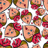 Funny faces seamless background, vector cartoon style pattern. Royalty Free Stock Photography