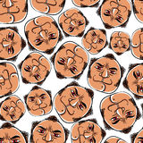 Funny faces seamless background, vector cartoon style pattern. Stock Images