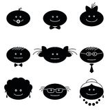 Funny faces, set. Smilies, set of black and white family characters. Grandmother, grandfather, mother, father, children Royalty Free Stock Photos
