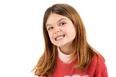 Funny faces. Funny young girl making faces isolated in white Royalty Free Stock Photo