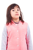 Funny faces. Funny young girl making faces isolated in white Royalty Free Stock Images