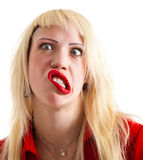 Funny facial expression. Young beautiful blonde woman in a funny expression Royalty Free Stock Photos