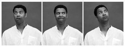Funny facial expression. Portrait of a funny African man Stock Photos