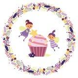 Funny fairies make a cupcake. vector illustration