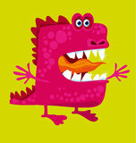 Funny fairy dragon with big teeth and open hug. Stock Image