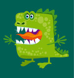 Funny fairy dragon with big teeth and open hug. Stock Photo