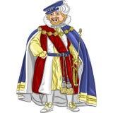 Funny fairytale cartoon king smiles Stock Photos