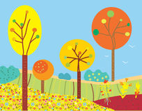 Funny fall landscape with flowers and trees Royalty Free Stock Photo