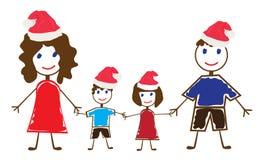 Funny family. Illustration of funny family in Santa hats Stock Photography
