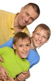 Funny family in bright T-shirts Stock Photography