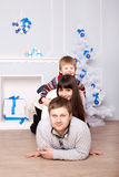 Funny family. Christmas, New Year, holiday concept. Stock Images