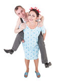 Funny family couple having fun Stock Images