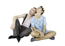 Funny family couple man and woman sitting isolated royalty free stock photo