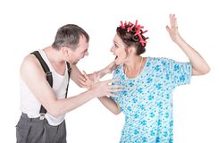 Funny family couple with relationship problem isolated. On white stock images