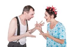 Funny family couple with relationship problem isolated. On white royalty free stock photos