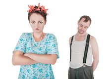Funny family couple with relationship problem Stock Image