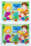 Funny family (drawings with black and color contou Stock Images