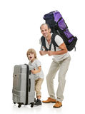 Funny family father and son ready for travel Stock Images