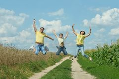Funny family jumping Stock Image