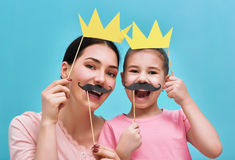 Free Funny Family On Background Of Blue Wall Stock Photography - 84279802