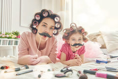 Funny family with a paper accessories Stock Photography
