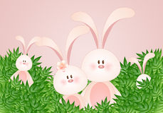 Funny family of rabbits Stock Image