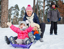 Funny family is sledging in winter-landscape Royalty Free Stock Photography