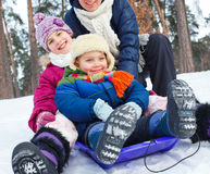 Funny family is sledging in winter-landscape Stock Images