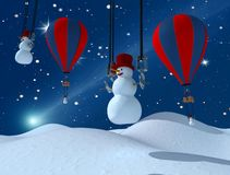 Funny family of snowman. Happy family of snowmen lands on the snow Royalty Free Stock Images