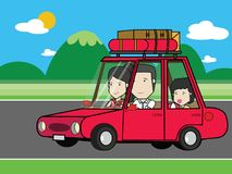 Funny family travel by red car on a road Royalty Free Stock Photo