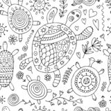 Funny family, turtle with chidren. Seamless pattern for your design. Vector illustration vector illustration