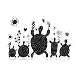 Funny family, turtle with chidren, sketch for your design. Vector illustration royalty free illustration