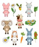 Funny farm animals, cute toy livestock for children, vector clipart collection vector illustration