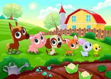 Funny farm animals in the garden. vector illustration