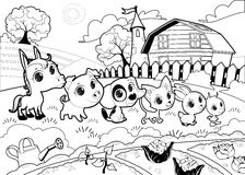 Funny farm animals in the garden. Vector cartoon illustration in black and white Stock Photo