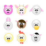 Funny farm animals for kids. Vector illustration of various farm animals in kids school style, available in this set: pig, cow, sheep, bunny, horse, duck, chick Stock Photography