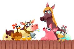 Funny farm animals smiling near the fence. Vector cartoon isolated illustration Royalty Free Stock Photos