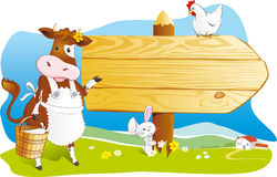 Funny farm animals, wooden signboard, copy space. Cute cartoon cow with milk, rabbit and hen pointing wooden signboard. Space for text, countryside landscape vector illustration