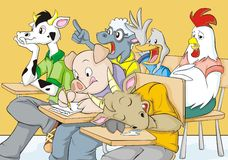 Funny Farm Classroom. A funny illustration of a classroom composed of farm animals - cow, pig, goat, sheep, duck, and chicken Royalty Free Stock Photos