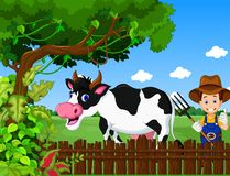 Funny farm with cow cartoon and farmer life background Royalty Free Stock Photography