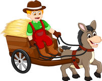 Funny farmer cartoon carrying grass with horse drawn carriage Royalty Free Stock Image